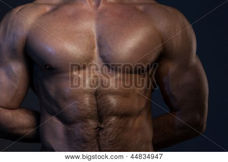 Photo of naked muscular man's torso on a dark background