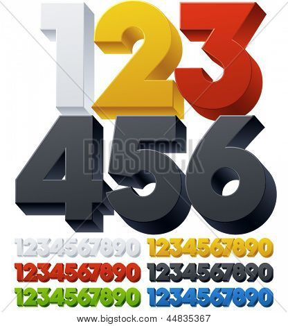 Three-dimensional alphabet. Vector illustration of 3d font characters. Plastic style. Numbers