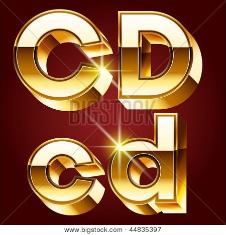 Three-dimensional golden alphabet. Vector illustration of 3d realistic font characters of gold. Letters c d