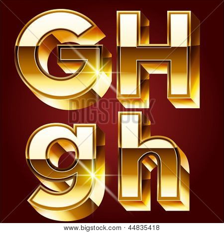 Three-dimensional golden alphabet. Vector illustration of 3d realistic font characters of gold. Letters g h