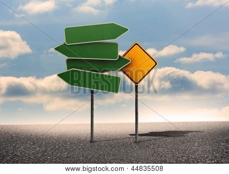 Two types of empty signposts with bright blue sky