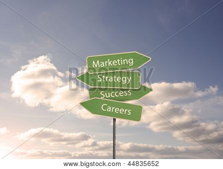 Marketing and strategy road sign with blue cloudy sky