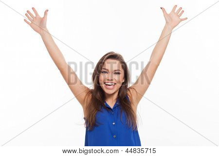 Beautiful young woman is very happy isolated over white background