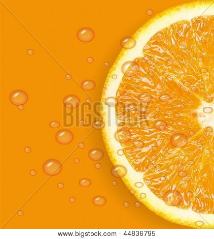 Orange fruit with water drops background. Raster version.