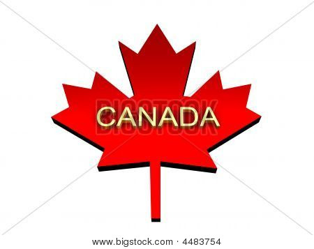 Maple Leaf With A Word Canada From Gold.
