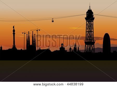 Vector illustration of Barcelona skyline silhouette with sunset sky