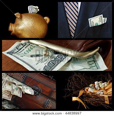 Collage of financial images includes gold piggy bank, business suit with cash, treasure chest overflowing with money and nest egg concept.
