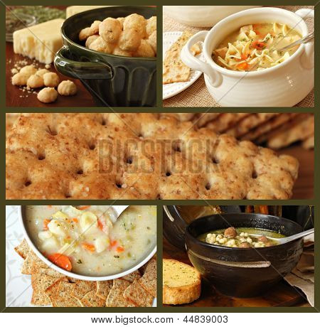 Soup and cracker collage includes freshly baked garlic cheese crackers, chicken noodle soup, whole grain crackers,  potato soup, and Italian wedding soup with garlic bread.