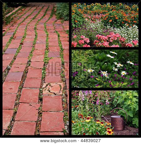 Collage of beautiful flower gardens with watering can and rustic brick pathway