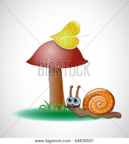 Funny snail near mushroom.