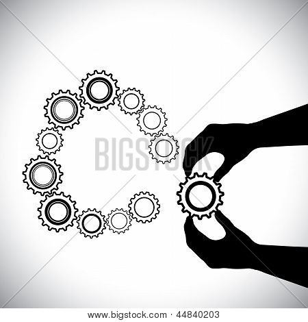 Cogwheel Being Added By Hand(person) For Completion-vector Graphic