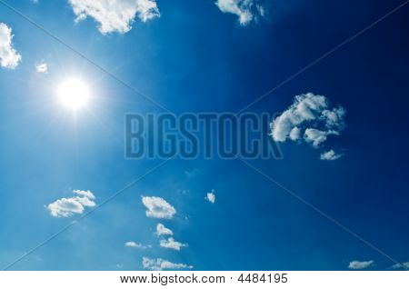 Sunlight Beams On Blue Sky