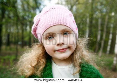 Little Girl In Spring Forest