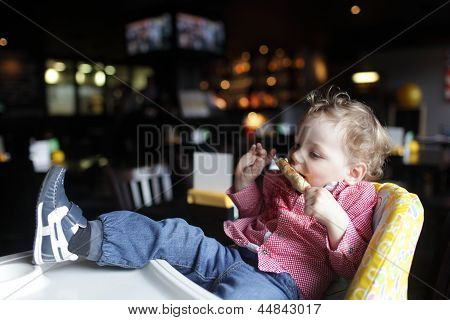 Toddler Eating Kebab
