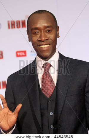 "LOS ANGELES - APR 24:  Don Cheadle arrives at the ""Iron Man 3"" LA premiere at the El Capitan Theater on April 24, 2013 in Los Angeles, CA"
