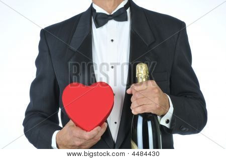 Man-in Tuxedo With Red Heart And Champagne