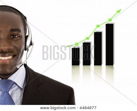 Business Support Man With Rising Graph