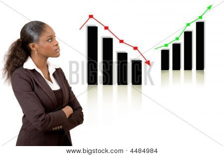 Business Woman Thinking With Rise And Fall Graphs