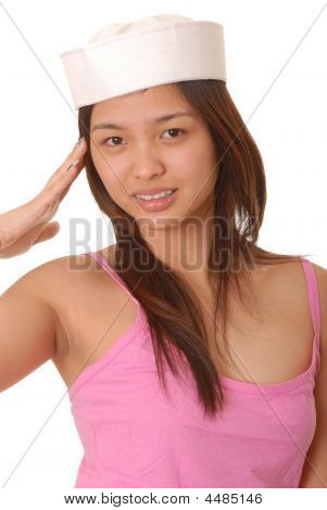 Asian Girl Wear A Sailor's Hat