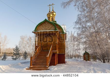 Vintage  Church in snowy forest