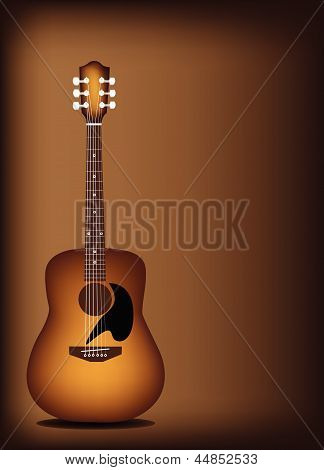 Beautiful Acoustic Guitar on Dark Brown Background