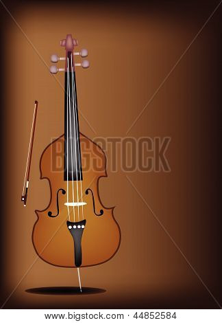 A Beautiful Double Bass on Dark Brown Background