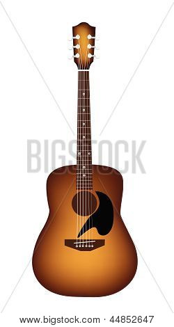 A Beautiful Acoustic Guitar on White Background