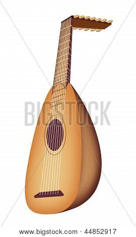 A Beautiful Antique Lute on White Background