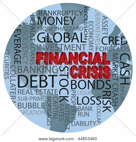 World Financial Crisis Word Cloud Illustration