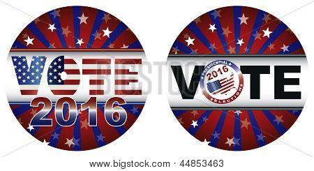 Ilustração de botões votação 2016 eleições presidenciais