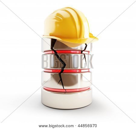 Database Broken Construction Helmet On A White Background