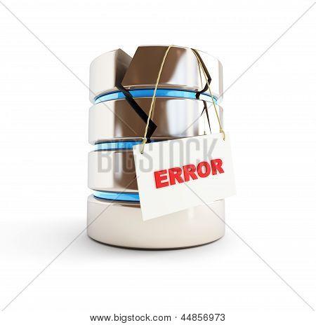 Database Error On A White Background