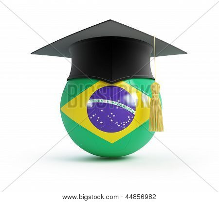 School Of Brazilian Football On A White Background
