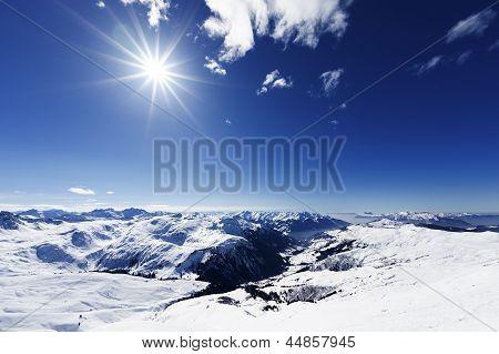 View Down On Typical Alpine Ski Resort