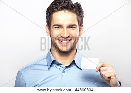 Happy guy with empty card