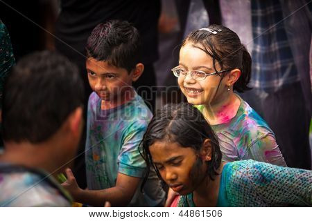 KUALA LUMPUR, MALAYSIA - MAR 31: Unidentified child during Holi Festival of Colors, Mar 31, 2013 in Kuala Lumpur, Malaysia. Holi marks the arrival of spring, being one of the biggest festivals in Asia