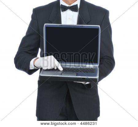 Butler With Laptop Computer