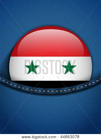 Syria Flag Button In Jeans Pocket