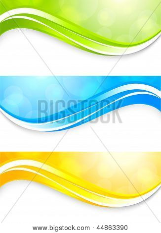 Set of bright banners