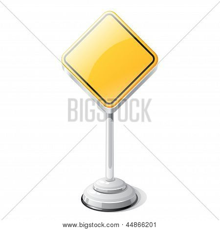 Priority road traffic sign isolated on white.