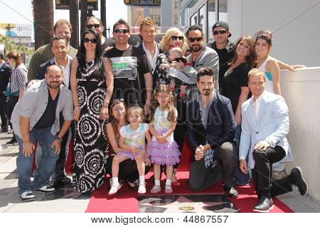 LOS ANGELES - APR 22:  Backstreet Boys and families at the ceremony for the