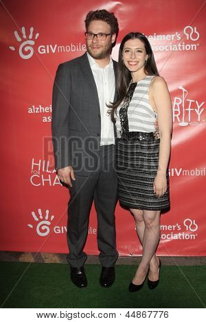 LOS ANGELES - APR 25:  Seth Rogen, Lauren Miller arrives at the Second Annual Hilarity For Charity benefiting The Alzheimer's Association  at the Avalon  on April 25, 2013 in Los Angeles, CA