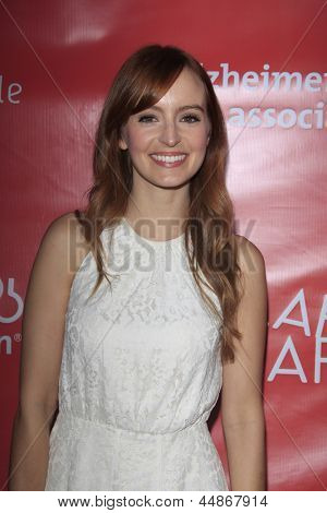 LOS ANGELES - APR 25:  Ahna O'Reilly arrives at the Second Annual Hilarity For Charity benefiting The Alzheimer's Association  at the Avalon  on April 25, 2013 in Los Angeles, CA