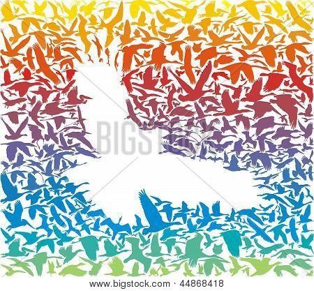 Abstract Rainbow Predator Bird And Its Prey.eps