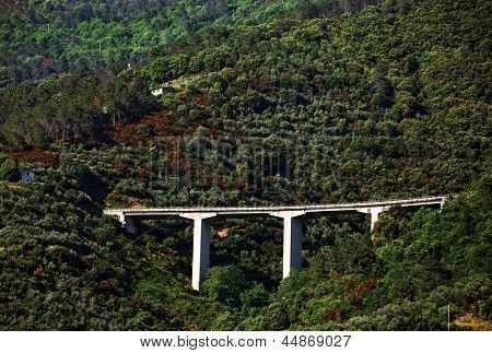 Motorway bridge on the Ligurian Coast, Italy, Europe