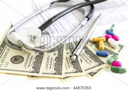 Money, Stethoscope And Pills, Medical Insurance