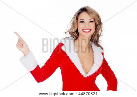 Santa Claus girl presenting something and pointing, isolated on a white backgorund