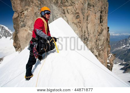 Alpine climbing in Haute Savoie, Dent du Geant, France, Europe