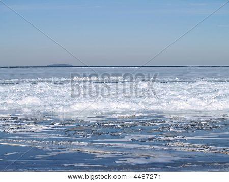 Ice Jam On Lake Erie