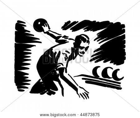 Bowler In Action - Retro Clip Art Illustration